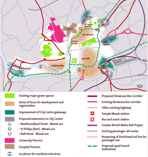 Centre Ville, principes d'organisation (source : Bristol City Council, 2011)